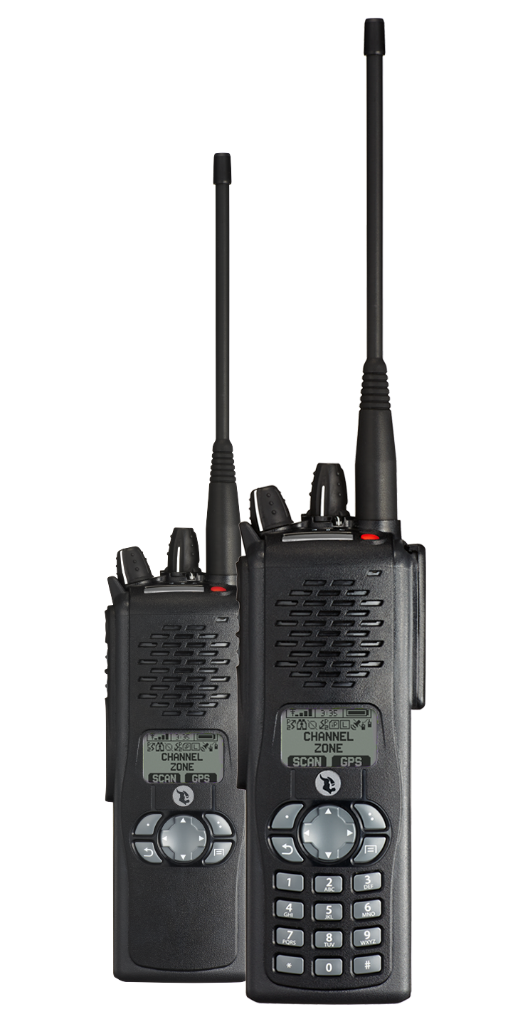 Three Black VP600 Portable Radios Front view